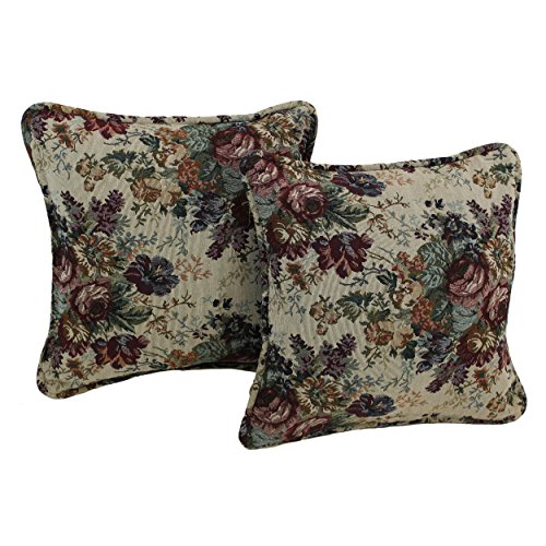 Blazing Needles Patterned Tapestry Double-Corded Square Throw Pillows with Inserts (Set of 2), 18