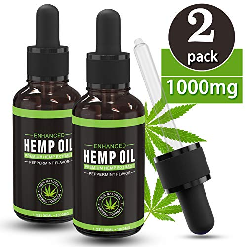 (2 Pack) Hemp Seed Oil Extract for Pain, Anxiety & Stress Relief, Sleep Support Supplements - 1000mg | 100% Natural, Herbal Drops, Helps with Skin & Hair