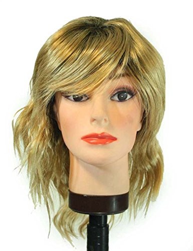 [16in. Blonde, Black Wavy Blonde, short boycut, bangs Synthetic Hair Replacement Wig] (Wavy Guy Costume)
