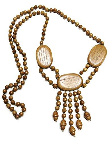 - KaleaBoutique Valentina Hand Crafted Wooden Bead Bohemian Ethnic Necklace Boho Fringe Pendant Jewelry, Mahogany