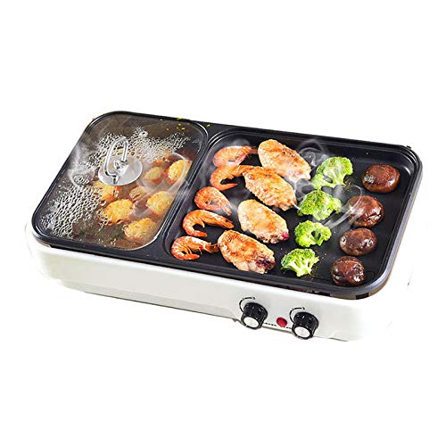 SYLTL Teppanyaki Grill, Electric BBQ Table Top Grill Suitable for Dormitory Home Balcony Cooking Plate with Adjustable Thermostat Control Cool Touch Handles (39cm229cm) 1360w,White