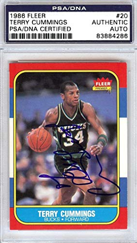 - Terry Cummings Autographed 1986 Fleer Card #20 Milwaukee Bucks #83884286 - PSA/DNA Certified - Basketball Autographed Cards