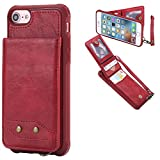 DAMONDY iPhone 7 Case, iPhone 8 Case, Luxury Wallet Purse Card Holders Design Cover Soft Shockproof Bumper Flip Leather Kickstand Magnetic Clasp With Wrist Strap Case for Apple iPhone 7 8-red