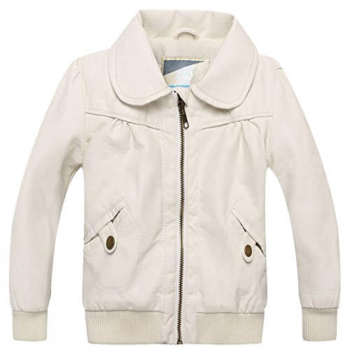 XiaoYouYu Little Girl's Cute Peter Pan Collar Leather Jackets US Size 2T (5190 Leather)