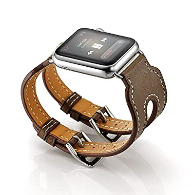 LoveBlue For Series 2 Series 1 Watch Band,Double Buckle Cuff Apple Watch Leather Band, Genuine Leather Band Bracelet Wrist Watch Band with Adapter for Apple Iwatch