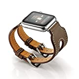 LoveBlue For Apple Watch Band,Single Tour Apple Watch Leather Band, Genuine Leather Band Bracelet Wrist Watch Band with Adapter for Apple Iwatch