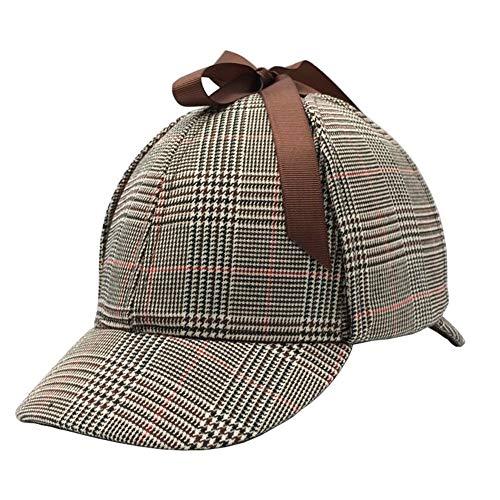 Unisex Sherlock Holmes Hat Deerstalker Hat Classic Hat (L, Red)