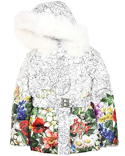 Love Made Love Girls' White Floral Goose Down Coat with Fox Fur, Sizes 6-12 (5/6) by Love Made Love