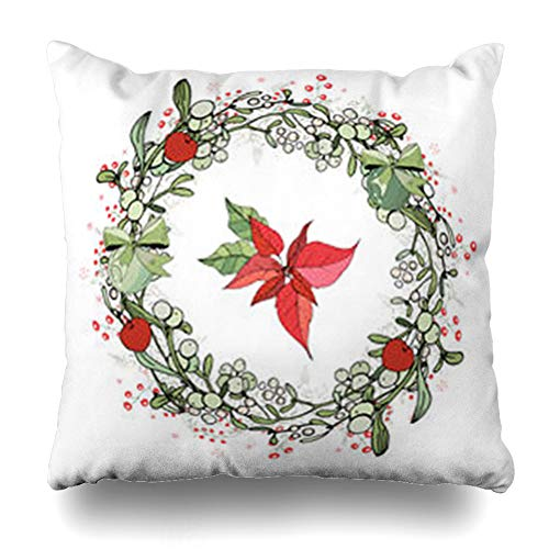 HugeDecor Throw Pillow Cover Cone Green Pretty Wreath Christmas Round Garland Poinsettia Holidays Nature Red Blank Box Branch Decorative Pillow Case 20x20 Inches Square Home Decor Pillowcase -