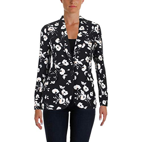 (Lauren Ralph Lauren Womens Floral Print Wear-to-Work One-Button Blazer Black 14)
