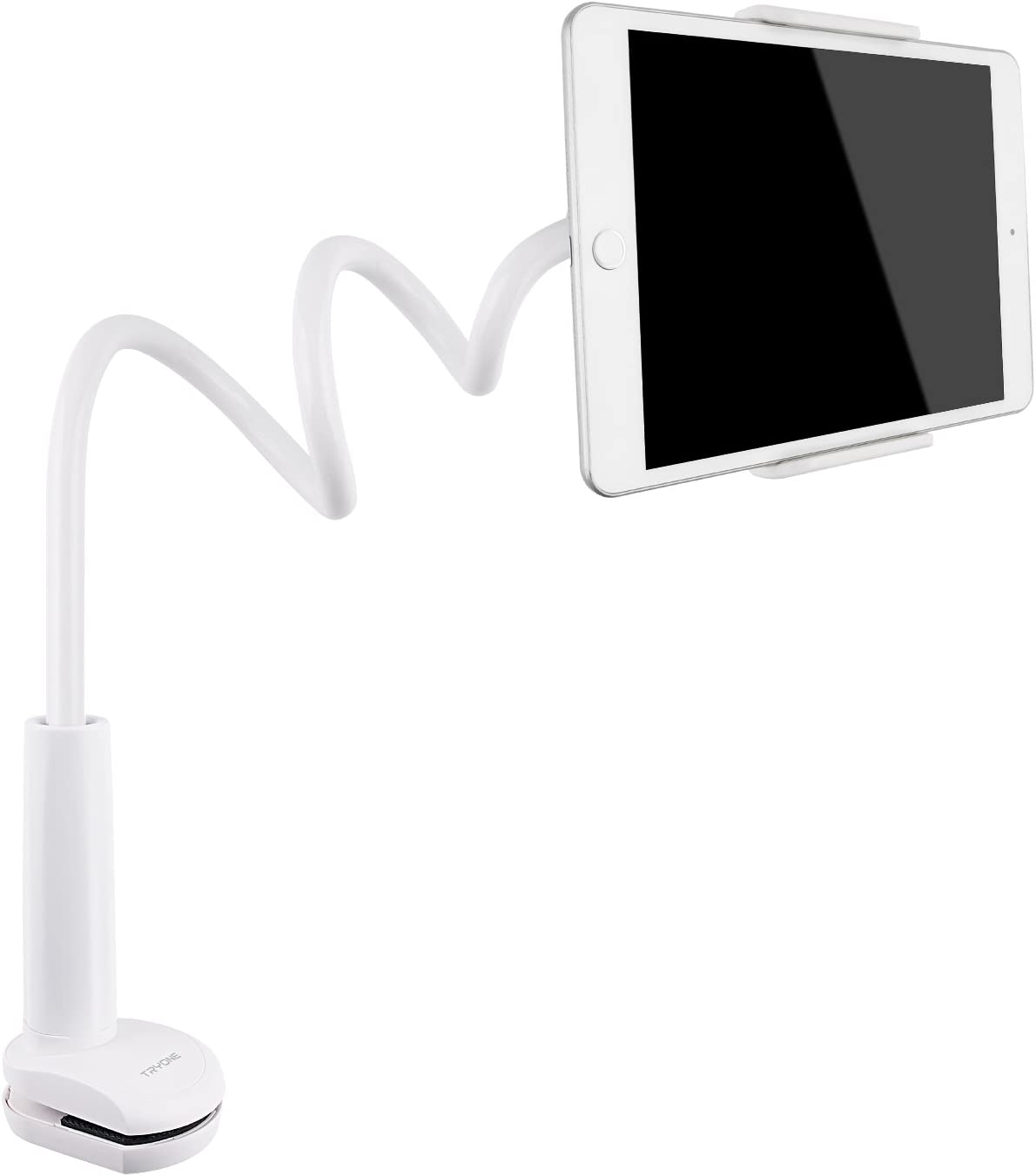 Tryone Gooseneck Tablet Stand, Tablet Mount Holder Compatible with iPad iPhone Series/Nintendo Switch/Samsung Galaxy Tabs/Amazon Kindle Fire HD and More, 30in Overall Length(White)