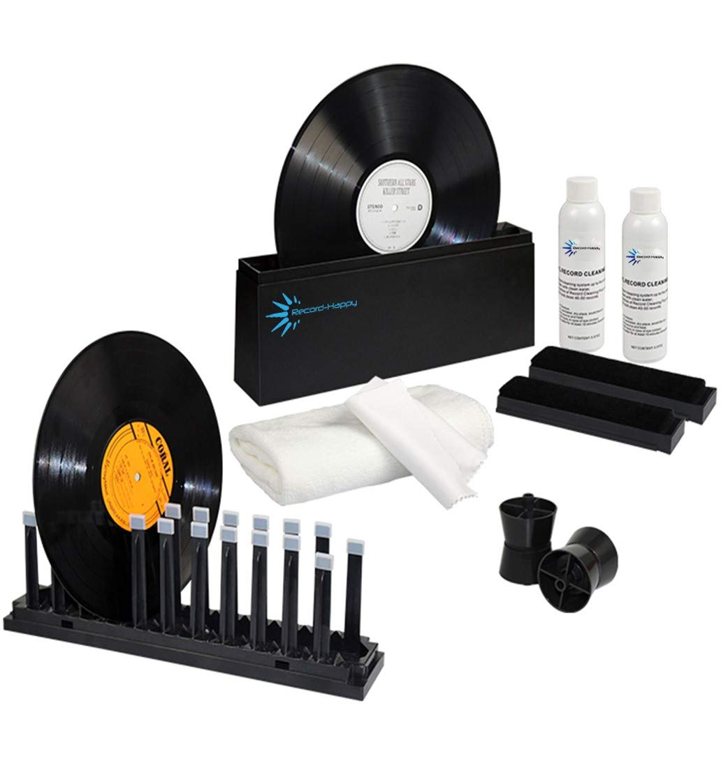 Record Washer Deep Cleaning System - Premium Cleaner Kit by Record-Happy Includes Drying Rack 10oz Cleaning Solution, 2 Brushes, Cloths and Accessories for 33 and 45 RPM. Keep Your Lp Albums Like New by Record-Happy