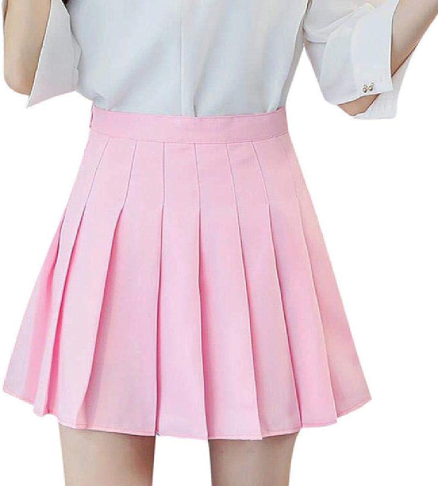 NOBRAND - Falda plisada de satén rosa para verano, cintura alta, plisada, para mujer, de cintura fina, informal, de tenis, colegio, vacaciones