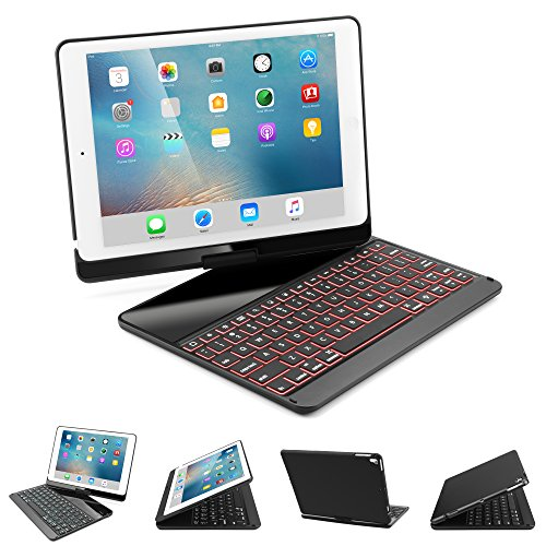 iPad Keyboard Case for 2017 New iPad 9.7, iPad pro 9.7, iPad Air, iPad Air 2, SENGBIRCH 7 Colors Backlit Bluetooth Keyboard Case Folio Smart 360 Rotate Stand Cover Apple Tablet 9.7, Black