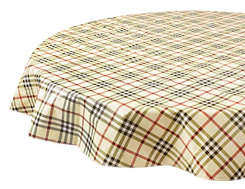 Round Tablecloths Christmas Tablecloths Vinyl Table Cloth Table Linens Tartan 60 Inch -