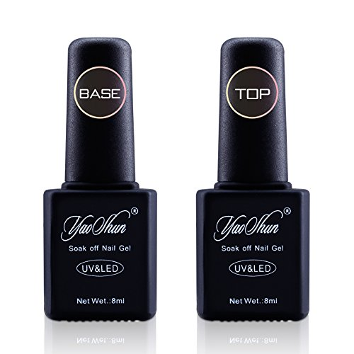 Yaoshun Soak Off UV Gel Nail Polish Base and Top Coat 8ml