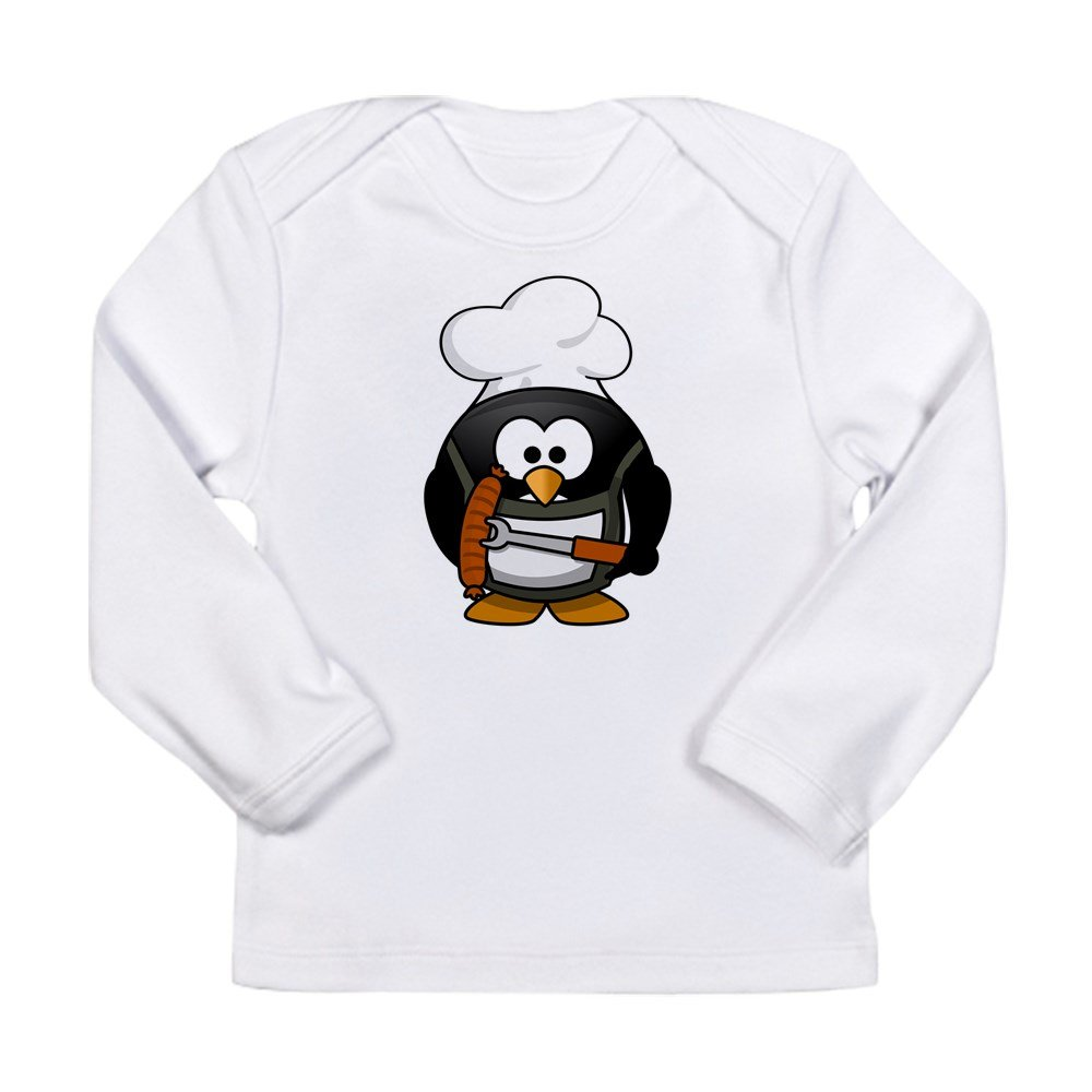 Truly Teague Long Sleeve Infant T-Shirt Little Round Penguin BBQ Grill King Cloud White 0 To 3 Months