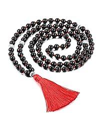 MOWOM Alloy Necklace Bracelet Black 108 Buddhist Simulated Lava Rock Stone Mala Prayer Japa Bead