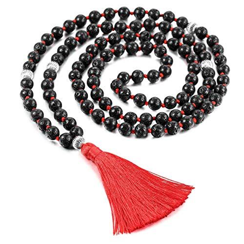 - MOWOM Alloy Necklace Bracelet Black 108 Buddhist Lava Rock Stone Mala Prayer Japa Bead