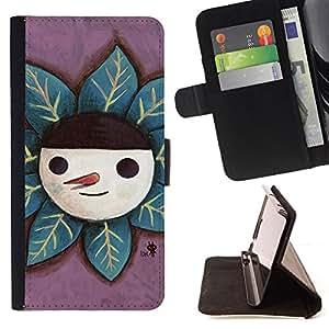 For Samsung Galaxy S6 EDGE - Cute Happy Snowman /Funda de piel cubierta de la carpeta Foilo con cierre magn???¡¯????tico/ - Super Marley Shop -