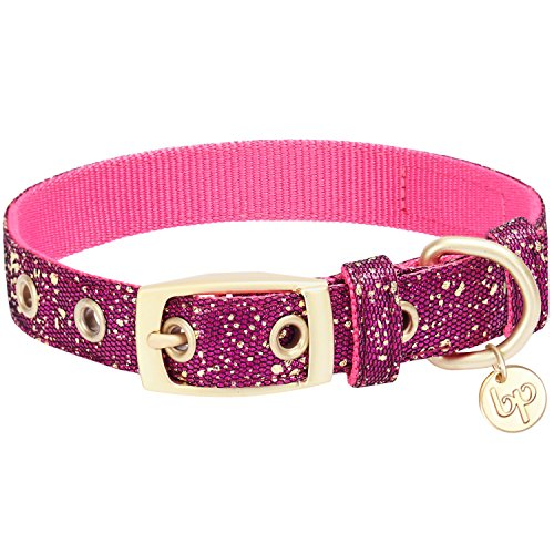 Collar Glam (Blueberry Pet 2019 New 4 Colors Glam Life Gold Stamping Lace Dog Collar in Cerise Pink, Neck 9-12.5