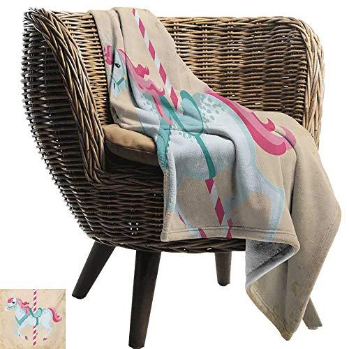 (BelleAckerman Beach Blanket,Horse,Vintage Carousel Horse Childhood Circus Joyful Amusement Park Girls Nursery Print,Multicolor,Cozy and Durable Fabric-Machine Washable)