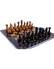 "RADICALn Original Handmade Marble Chess Set 15"" Black and Golden Hand Crafted Full Chess Board Game Sets Premium Quality"
