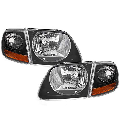 For Black 1997-2003 Ford Expedition | F-150 | F-250 Lightduty Headlights + Signal Lights Combo Set