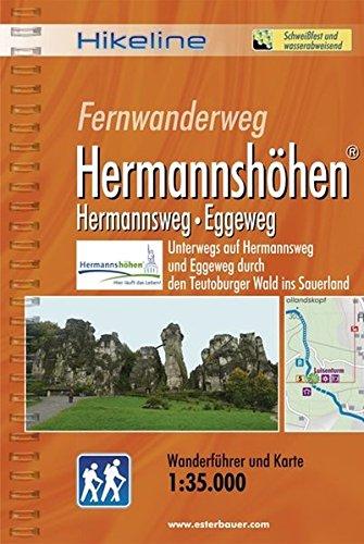 Hikeline Fernwanderweg Hermannshöhen (Hermannsweg-Eggeweg) ca. 226 km: Unterwegs auf dem Hermannsweg und dem Eggeweg durch den Teutoburger Wald ins Sauerland, 1:35.000, wetterfest