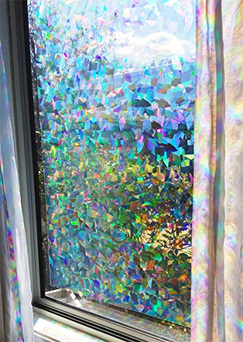 Decorative Window Film Holographic Prismatic Etched Glass Effect  Fill Your House with Rainbow Light 24quot X 36quot Panel  Crystal Pattern