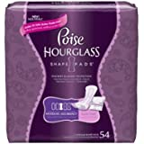 Poise Hourglass Shape, Moderate Absorbency Incontinence Pads, Regular Length, 54ct