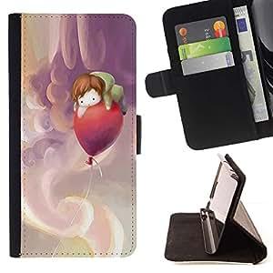 Momo Phone Case / Flip Funda de Cuero Case Cover - Se nubla el cielo Globo bebé Mama - Samsung Galaxy E5 E500