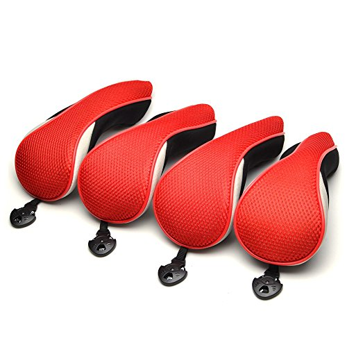 (Hybrids 4pcs Red Neoprene Stealth Club Covers With Easy Lock-in Adjustable Notation Design Easy Lock-in Headcovers Fit For All)