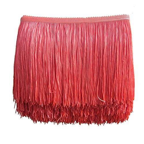- MIPPER 10 Yards of Polyester Fringe Trim 4 Inch Wide for Clothes Dress Dance Costume Sewing DIY Crafting Home Decoration (Peach red)
