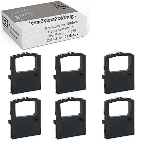 Mars POS Ribbons Compatible Ribbon Cartridge Replacement for Okidata Microline 320 Turbo Ribbon Oki 52104001 (Black, 6 Pack)