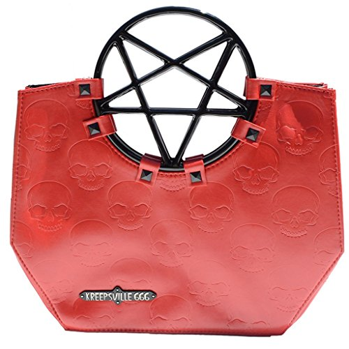 [Vinyl Red Pentagram Handle Purse Gothic Halloween Kreepsville 666 Handbag] (666 Halloween Costume)