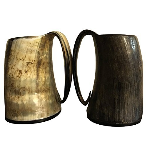 XXL Hand Crafted Game of Thrones Vikings Style Drinking Glass - Medieval Era Replicated Mug - Bottle Opener and Box Included - Horn Tumblers Hold 28oz of Ale or Liquid of your