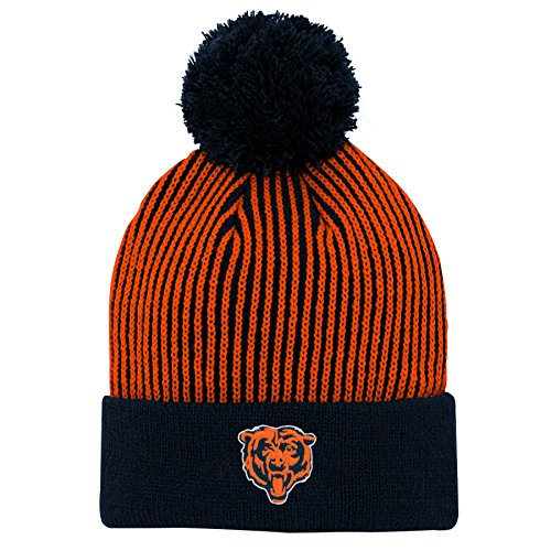 - Outerstuff NFL Chicago Bears Youth Boys Hidden Rib Cuffed Knit Hat with Pom Deep Obsidian, Youth One Size