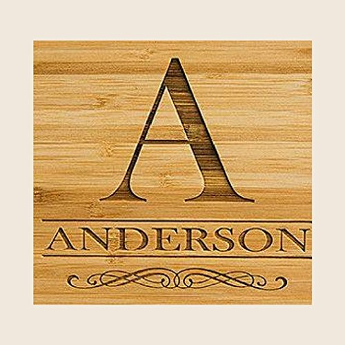 Personalized by Name Cutting Board for Kitchen - Wood Cutting Boards Housewarming Gifts (5 x 11 Bamboo Paddle Shaped, Anderson Design)