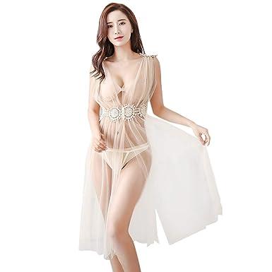 2041a8f3f201 Huaze 2019 Women Nightdress Sexy Underwear Sleepwear Taste Lingerie Pajamas  (Khaki)