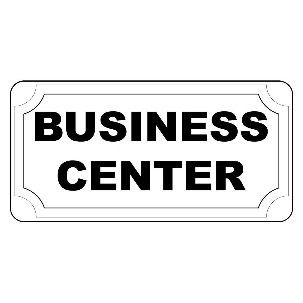 Business Center Black Retro Vintage Style LABEL DECAL STICKER Sticks to Any Surface - 8 In X 12 In With Holes