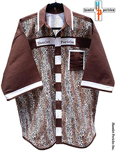 Cheetah Print Men's Shirt   XXL Shirt   Big Wild Cat   Brown White Patchwork   Animal Print   Button-up Shirt by Hamlet Pericles   S111212