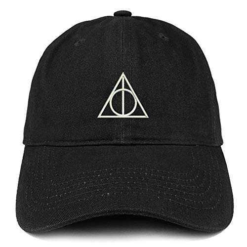 Trendy Apparel Shop Deathly Hallows Magic Logo Embroidered Soft Crown 100% Brushed Cotton Cap - Black (Harry Potter And The Deathly Hallows Epub Tuebl)