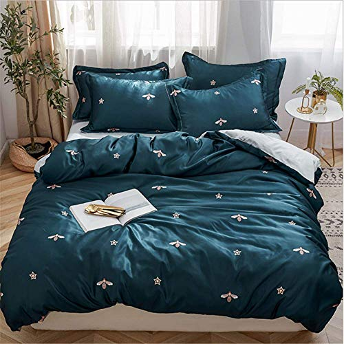 (SSHHJ Cotton Twin Queen Bedding Set King Size Bed Fitted Sheet Bed Set Duvet Cover Pillows A 150x200cm)