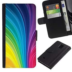 Paccase / Billetera de Cuero Caso del tirón Titular de la tarjeta Carcasa Funda para - Vertical Swirling Rainbow Colors Colorful - Samsung Galaxy Note 4 SM-N910