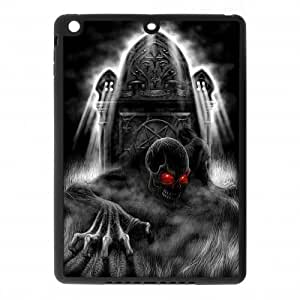 IPad Air Case,Terrifying Devil Skull With Red Eyes Horrible Grave Hign Definition Unique Design Cover With Hign Quality Rubber Plastic Protection Case