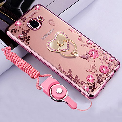 Galaxy J7 Prime Case, Galaxy On7 Case, ikasus Pink Butterfly Flower Bling Crystal Rhinestone Diamonds Clear Rubber Rose Plating Frame & Pink Straps Love Diamonds Kickstand Soft TPU Bumper Case Cover (Butterfly Rubber Flower)