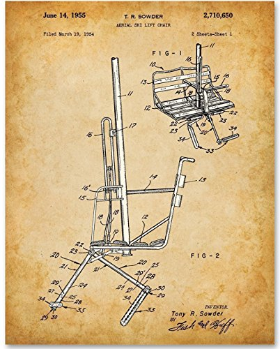 Ski Lift Chair Art Print - 11x14 Unframed Patent Print - Great for Ski Lodges and Mountain Cabins ()