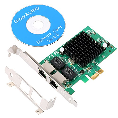 (SHINESTAR Dual Port Gigabit Ethernet PCI-E Network Controller Card, 2 Port PCI Express Server Network Interface Card, Lan Adapter Converter 10/100/1000Mbps for Desktop with Low Bracket)