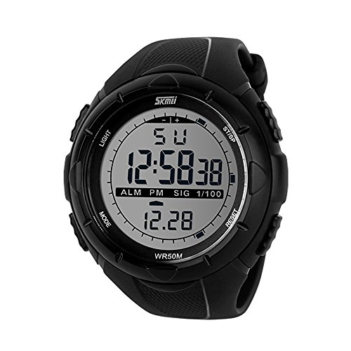 Mens Sports Digital Watch, 50M Waterproof Military Outdoor Watches Black Large Face with Chronograph Alarm Shock Resistant LED